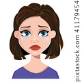 Woman crying. Female emotion, face expression 41179454