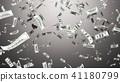 3d render Falling hundred dollar on grey background 41180799