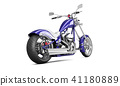 3D render biker motorcycle on a white background 41180889