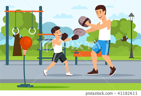 Cartoon father in boxer shorts on playground 41182611