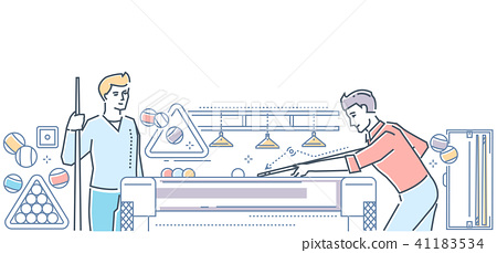 Billiard - modern line design style colorful illustration 41183534