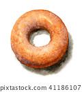 수채화로 그린 슈가 도넛 41186107