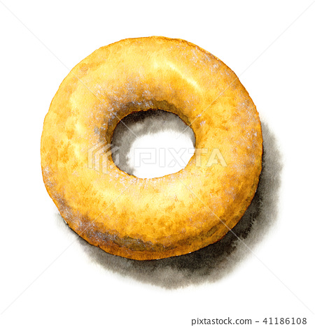 수채화로 그린 슈가 도넛 41186108
