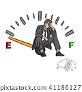 serious businessman sitting on fuel gauge sign 41186127