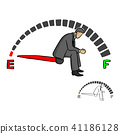 stressed businessman sitting on fuel gauge sign 41186128