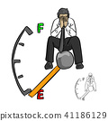 sad businessman sitting on fuel gauge  41186129