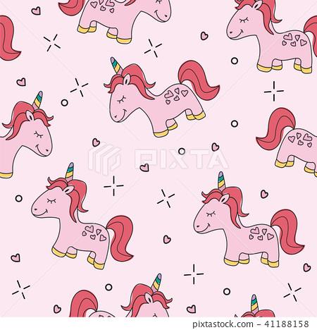 seamless pink unicorn pattern vector illustration 41188158