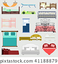 Exclusive sleeping beds vector furniture illustration design bedroom with aerial view. Sleeping 41188879