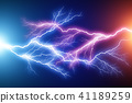 Blue and red lightning arc electric discharge 41189259