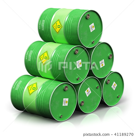 Green biofuel drums isolated on white background 41189270