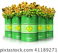 Green biofuel drums with sunflowers isolated 41189271