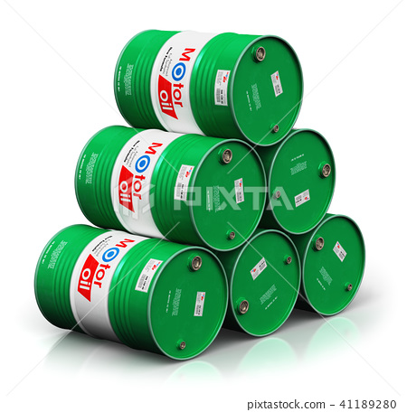 Stack of barrels with motor oil lubricant isolated 41189280