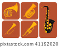 Wind musical instruments cards tools acoustic musician equipment orchestra vector illustration 41192020