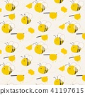 Cute Bee Pattern Background. Vector Illustration. 41197615