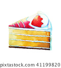 strawberry cake watercolor painting illustration 41199820