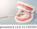 Mirror dentist equipment with model teeth. 41199994