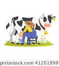 farmer milking a cow  41201899