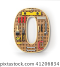 Number 0 zero. Alphabet from tools on pegboard 41206834