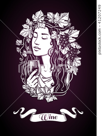 Woman with grapes and wine. 41207249