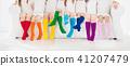 Kids with colorful socks. Children footwear. 41207479
