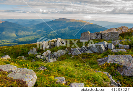 row of boulders on the hillside 41208327