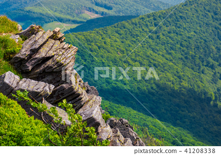 rocky cliffs above the forested valley 41208338