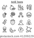Acid icon set in thin line style 41209229