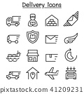 Delivery & Logistic icon set in thin line style 41209231