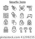 Security icon set in thin line style 41209235