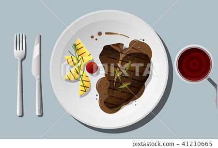 Grilled beef, t-bone steak with red wine 41210665