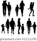 Set silhouette of happy family on a white 41211295