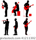 Silhouettes street musicians playing instruments 41211302