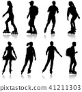Black set silhouette of an athlete roller skates 41211303