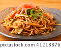 fried soba, fried soba noodles seasoned with sauce, noodles 41218876