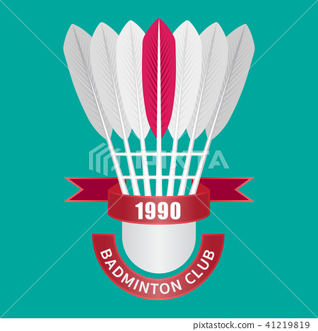 Shuttlecock logo for badminton club. Flat design 41219819