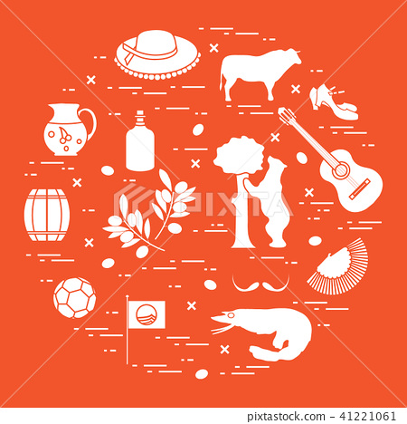 Various Symbols Of Spain Arranged In A Circle Stock Illustration