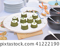 fingerfood based on basil and cheese on plate 41222190