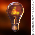 3d illustration of a light bulb with the word love 41223657