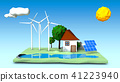 house,wind turbines,solar panels on a green square 41223940