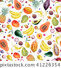 Watercolor exotic fruits pattern 41226354
