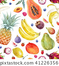 Watercolor exotic fruits pattern 41226356