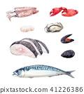 Watercolor sea food set 41226386