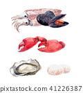 Watercolor sea food set 41226387