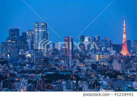 """""""東京""""東京塔和城市夜景 41228491"""
