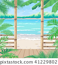 Tropical Background with Terrace on Sea Coast. 41229802