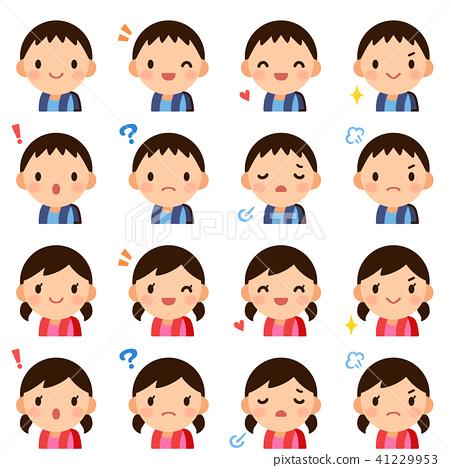 가방 초등학생 소년 소녀 얼굴 표정 귀여운 플랫 아이콘 세트 41229953