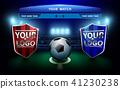 Football team with scoreboard on green field. 41230238