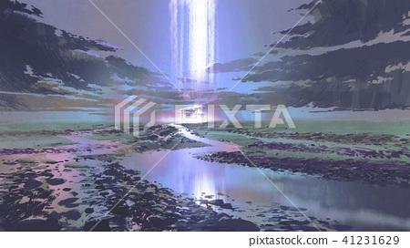 night scenery of waterfall in the sky 41231629