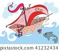 illustration、fairytale、boat、sea、ocean、bait Dolphin 41232434