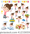 Bun hair mom Pants style_food festival 41233659